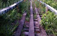 Jembatan Hubungan Persawahan Meunumbok Rusak Parah