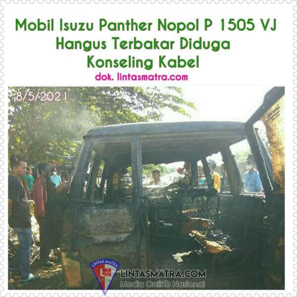 Mobil Isuzu Panther Milik Kades Klatakan Hangus Terbakar di Depan Pedagang Anyaman Bambu