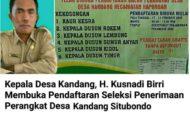 DIBUKA PENDAFTARAN PERANGKAT DESA KANDANG SYARAT MINIMAL BERIJAZAH SLTA / SEDERAJAT